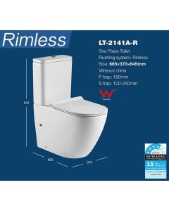 RIMLESS TOILET SUITE HYGIENE FLUSH - P OR S TRAP NEW
