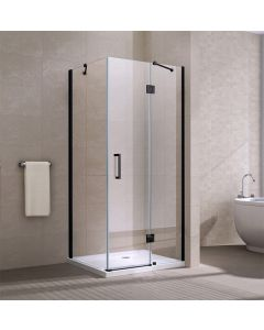 APOLLO FRAMELESS HINGED DOOR SQUARE ENCLOSURE 900X900X2000MM BLACK