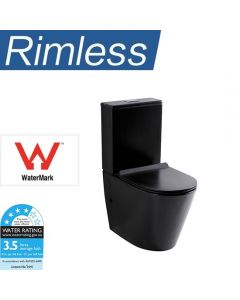 RIMLESS TOILET SUITE BLACK HYGIENE FLUSH P OR S TRAP RIMLESS FLUSHING BLACK NEW
