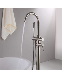 BATHTUB TAPS FLOOR MOUNTED SINGLE LEVER WITH HANDHELD SPRAY STREAM FILLER SPOUT MIXER TAP G1/2 chrome