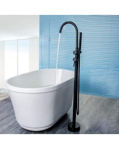 Matte Black Bathtub Taps Floor Mounted Single Lever with Handheld Spray Stream Filler Spout Mixer Tap G1/2 Black