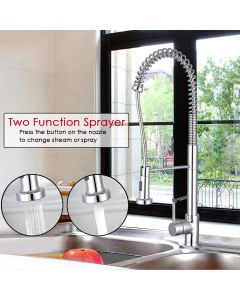 Kitchen Faucets Sink Mixer Taps Pull Out Sprayer Single Level Swivel