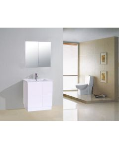 VANITY 750MM HIGH GLOSS WHITE VANITY UNIT WITH CERAMIC BASIN