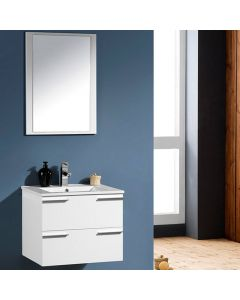 CENTRA 600MM WHITE WALL MOUNT BATHROOM VANITY UNIT MDF