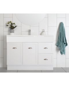 CHELSEA VANITY 900MM HIGH GLOSS WHITE VANITY UNIT WITH CERAMIC BASIN