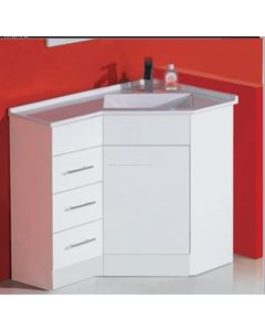 CORNER VANITY WITH LEFT DRAWER UNIT CONFIGURATION 900MM X 600MM X 860MM
