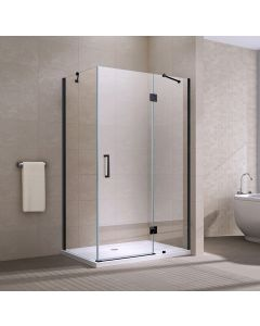 APOLLO FRAMELESS HINGED DOOR SQUARE ENCLOSURE 900X1200X2000MM BLACK