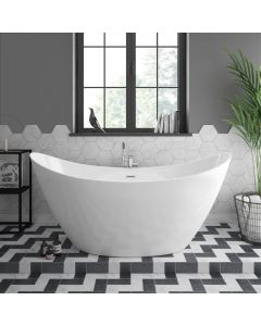 FIGARO LUXURY WHITE ACRYLIC FREE STANDING SOAKING BATHTUB 1700 X 800 X 770MM