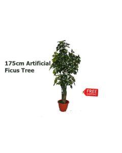ARTIFICIAL ARTISTIC FAUX TREE, FAKE TREE FICUS BUSH, DARK GREEN, 175CM