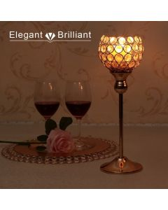 VINCIGANT GOLD CRYSTAL CANDLE HOLDERS PILLARS FOR WEDDING PARTY CENTERPIECES