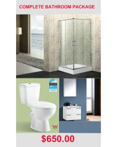 Complete Bathroom Suit Package Toilet Vanity Basin Shower Taps Mirror, Waste