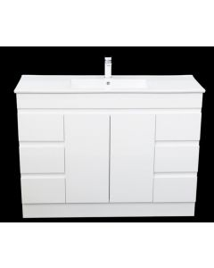 Vanity 1200mm High Gloss White Vanity Unit with Ceramic Basin