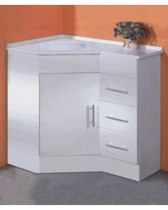 CORNER VANITY WITH RIGHT DRAWER UNIT CONFIGURATION 900MM X 600MM X 860MM