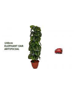 ARTIFICIAL ARTISTIC ELEPHANT EAR FAUX TREE,FAKE TREE FICUS BUSH,DARK GREEN,140CM