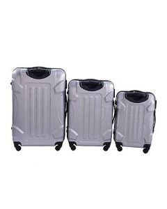 NEW 3 Pcs Luggage Travel Set Bag ABS Trolley Suitcase with Lock Silver Color