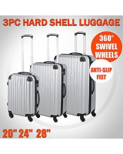 NEW 3 PCS LUGGAGE TRAVEL SET BAG ABS TROLLEY SUITCASE WITH LOCK SILVER COLORS019