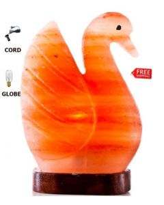 BEAUTIFUL SWAN FULL SET HIMALAYAN SALT CRYSTAL LAMP AIR PURIFY CORD & GLOBE