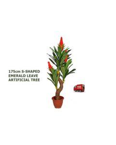 ARTIFICIAL ARTISTIC S-SHAPED EMERALD LEAVE ,FAKE TREE FICUS BUSH,DARK GREEN175cm