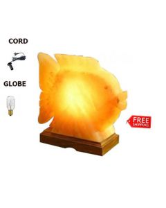 BEAUTIFUL FISH FULL SET HIMALAYAN SALT CRYSTAL LAMP AIR PURIFY CORD & GLOBE