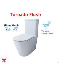 Tornado Flushing Toilet Suite Super Silent Toilet Wall Faced Soft Close Hygiene