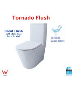 Tornado Flushing Toilet Suite Super Silent Toilet Wall Faced Soft Close Hygiene