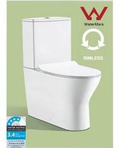 CLAIRE RIMLESS TOILET & SOFT CLOSE SEAT - P OR S TRAP New